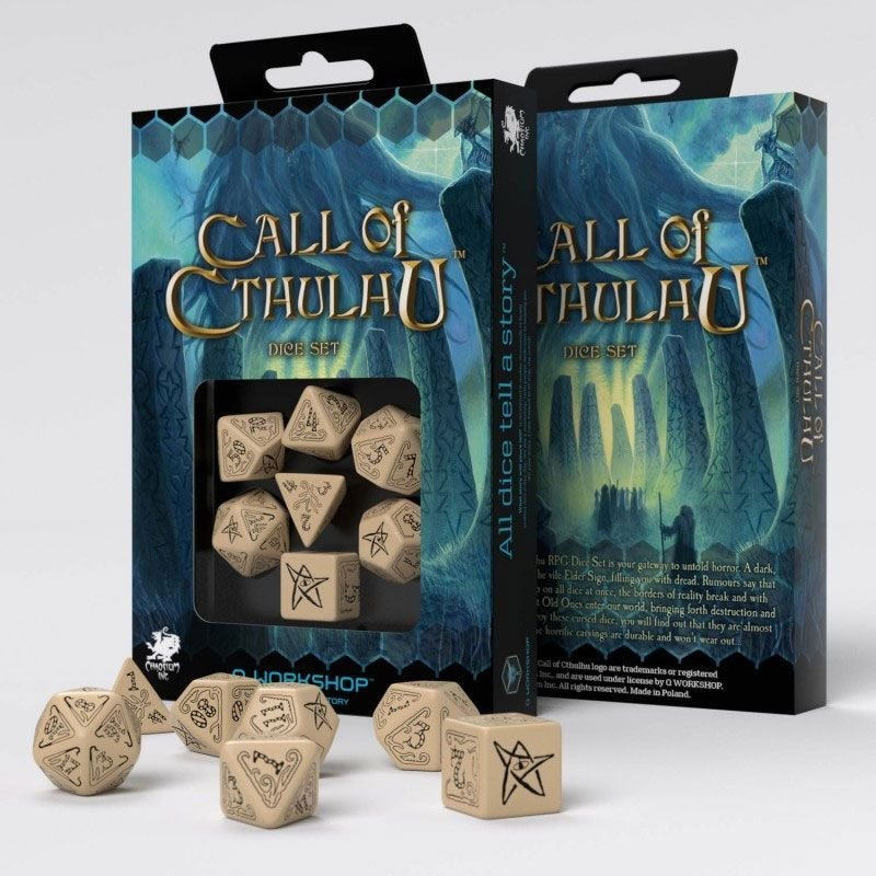 Call of Cthulhu Würfel Set beige & schwarz (7) - Q-Workshop
