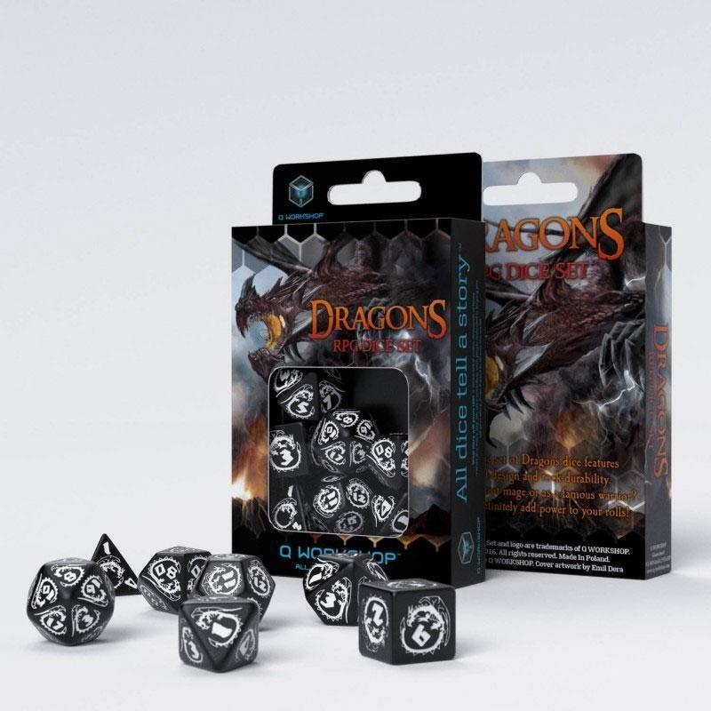 Dragons Würfel Set schwarz & weiß (7) - Q-Workshop