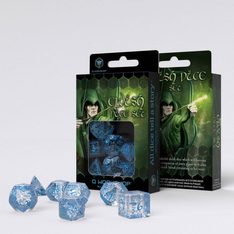Elvish Würfel Set transparent & blau (7) - Q-Workshop