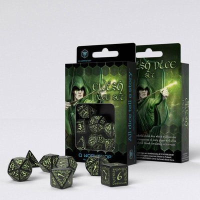 Elvish Würfel Set schwarz & glow-in-the-dark (7) - Q-Workshop