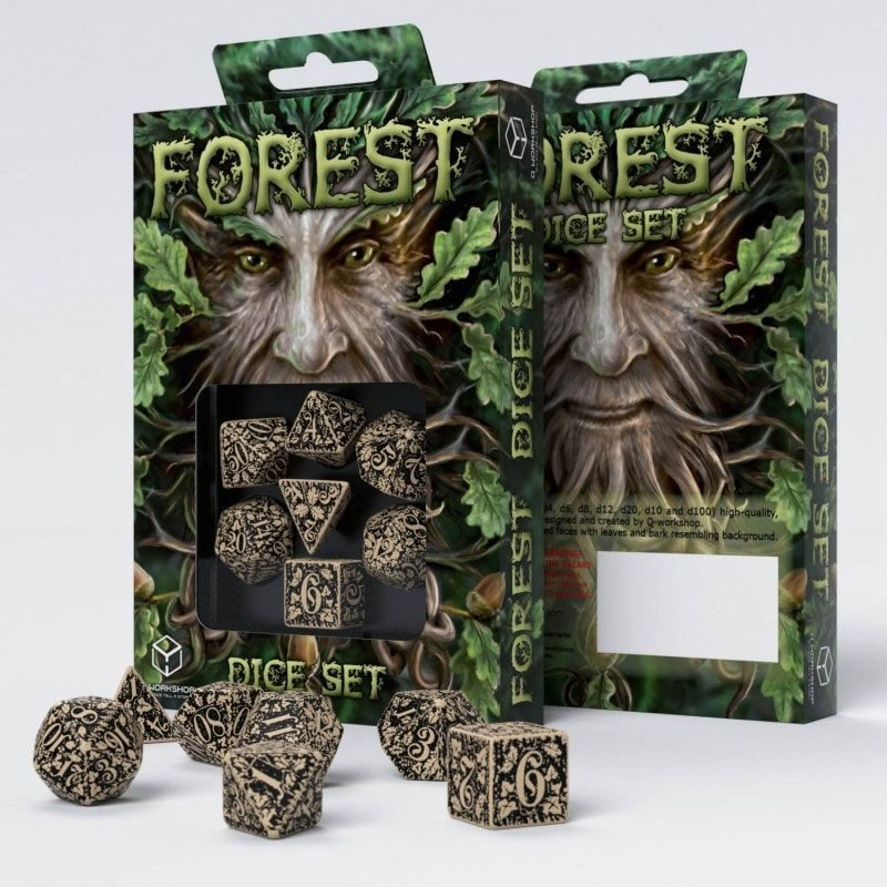 Forest 3D Würfel Set beige & schwarz (7) - Q-Workshop QWSSFOR18
