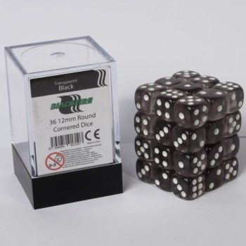 Dice Cube - 12mm D6 36 Dice Set - Transparent Black
