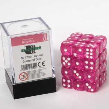 Dice Cube - 12mm D6 36 Dice Set - Transparent Rose Red