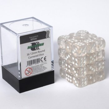 Dice Cube - 12mm D6 36 Dice Set - Transparent White