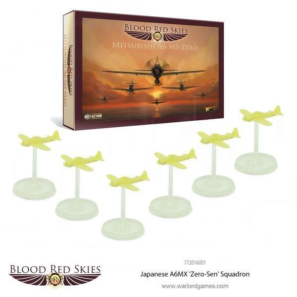 Japanese A6MX 'Zero-Sen' 6 Plane Squadron - Blood Red Skies - Warlord Games