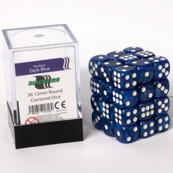 Dice Cube - 12mm D6 36 Dice Set - Marbled Dark Blue