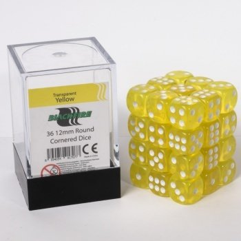 Dice Cube - 12mm D6 36 Dice Set - Transparent Yellow