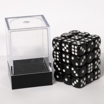 Dice Cube - 12mm D6 36 Dice Set - Opaque Black