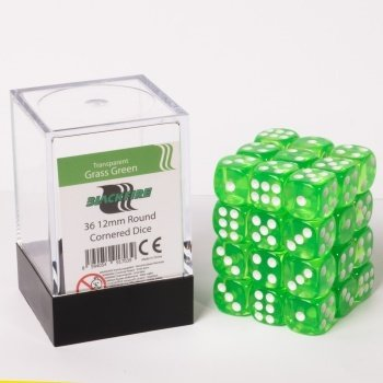 Dice Cube - 12mm D6 36 Dice Set - Transparent Grass Green