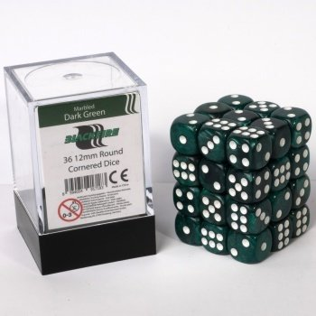 Dice Cube - 12mm D6 36 Dice Set - Marbled Dark Green