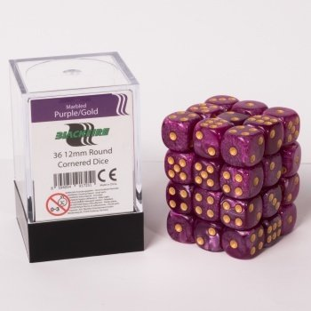 Dice Cube - 12mm D6 36 Dice Set - Marbled Purple/Gold