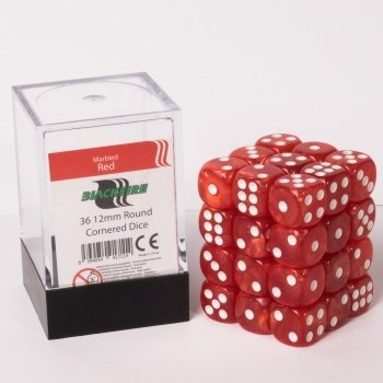 Dice Cube - 12mm D6 36 Dice Set - Marbled Red
