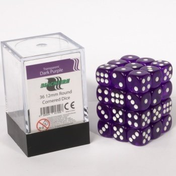 Dice Cube - 12mm D6 36 Dice Set - Transparent Dark Purple