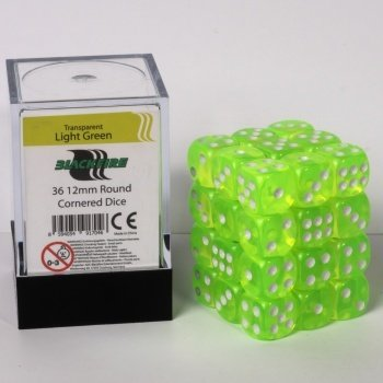 Dice Cube - 12mm D6 36 Dice Set - Transparent Light Green