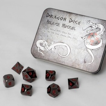 Metal Dice Set - Black Nickel (7 Dice) - Metallwürfel - Blackfire