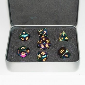 Metal Dice Set - Scorched Rainbow (7 Dice) - Metallwürfel - Blackfire