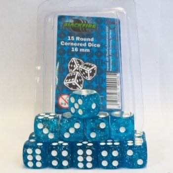 16mm D6 Dice Set - Glitter Blue (15 Dice)