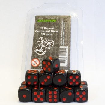 16mm D6 Dice Set - Black with Red Dots (15 Dice) - cornered