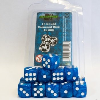 16mm D6 Dice Set - Marbled Light Blue (15 Dice)