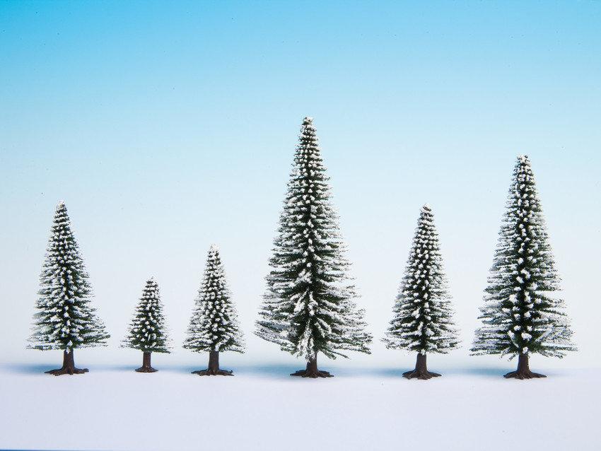 Schneetannen, 25 Stück, 5 - 14 cm hoch - NOCH