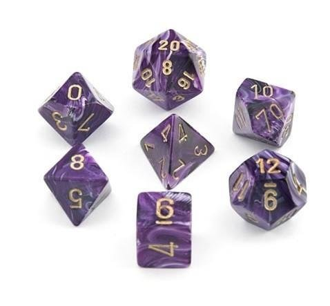 Vortex Purple w/gold - 7-Die Set (7) - Chessex CHX27437