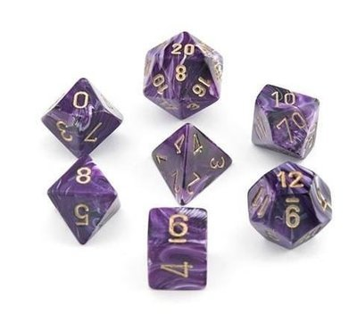 Vortex Purple w/gold - 7-Die Set (7) - Chessex