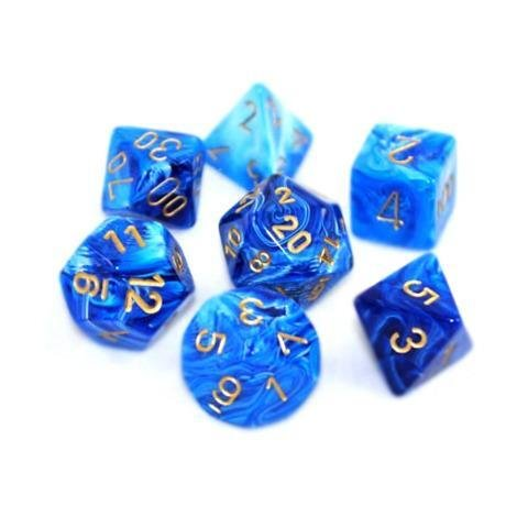Vortex Blue w/gold - 7-Die Set (7) - Chessex CHX27436