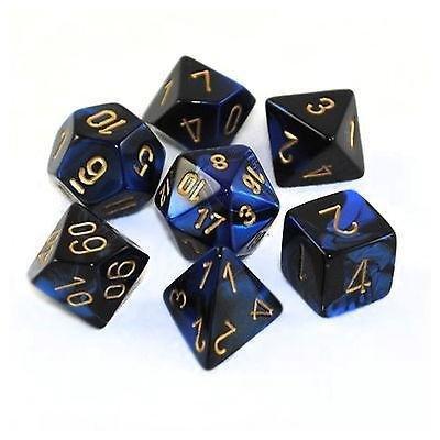 Black-Blue/gold - Opaque Polyhedral 7-Die Set (7) - Chessex CHX26435