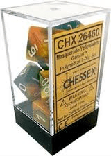 Gemini - Masquerade-Yellow/white - Opaque Polyhedral 7-Die Set (7) - Chessex CHX26460