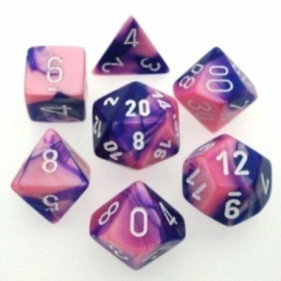 Gemini - Pink-Purple/white - Translucent Polyhedral 7-Die Set (7) - Chessex