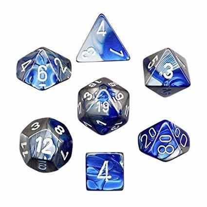 Gemini - Blue-steel/white - Opaque Polyhedral 7-Die Set (7) - Chessex CHX26423