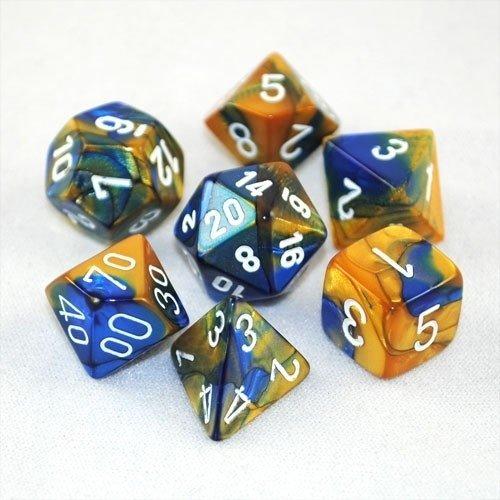Gemini - Blue-gold/white - Opaque Polyhedral 7-Die Set (7) - Chessex CHX26422