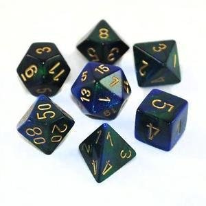 Gemini - Blue-Green/gold - Opaque Polyhedral 7-Die Set (7) - Chessex