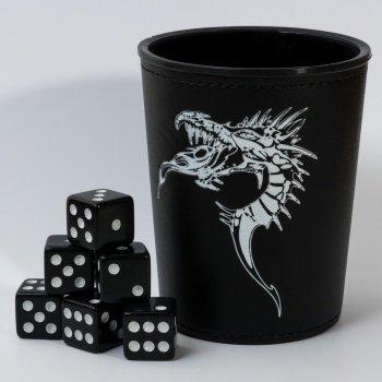 Dice Cup - Black /w Dragon Emblem - Würfelbecher 91732-blackf