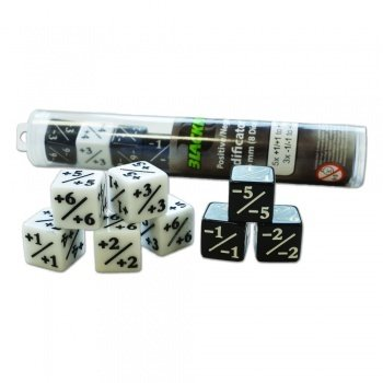 Positive/Negative D6 Dice 16 mm (8 Dice in Tube) +1-1 Würfel - Blackfire