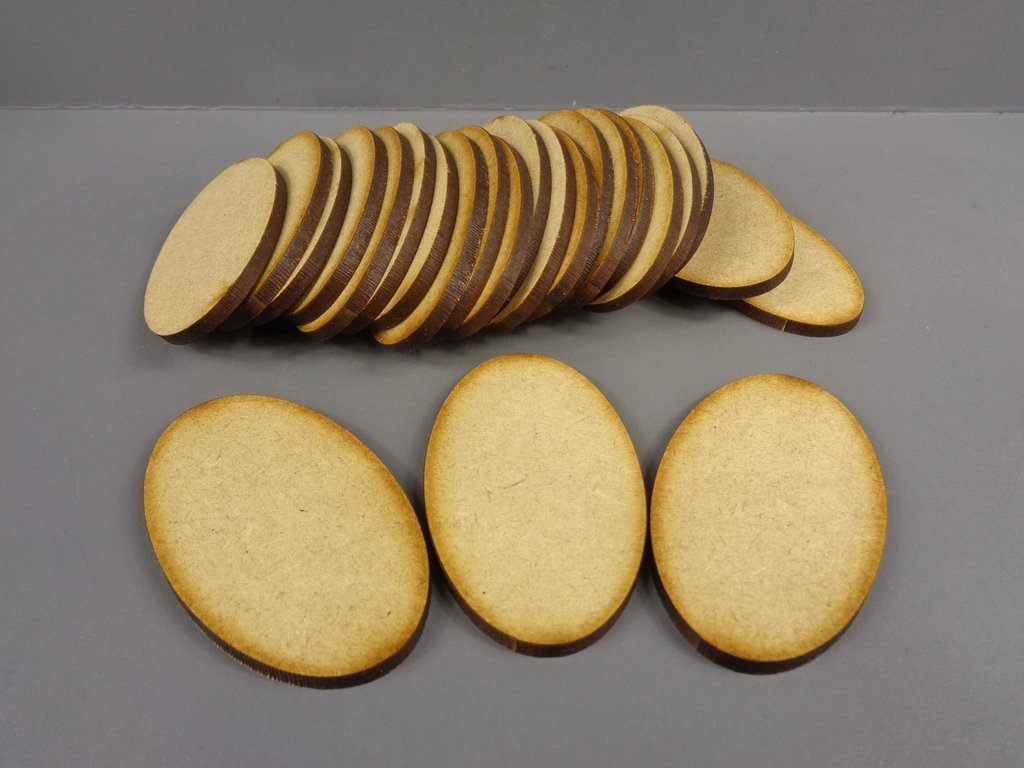 60mm x 35mm Oval Bases (25) - MDF BR60Oval
