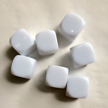 Blank White 16mm Dice (15pcs)