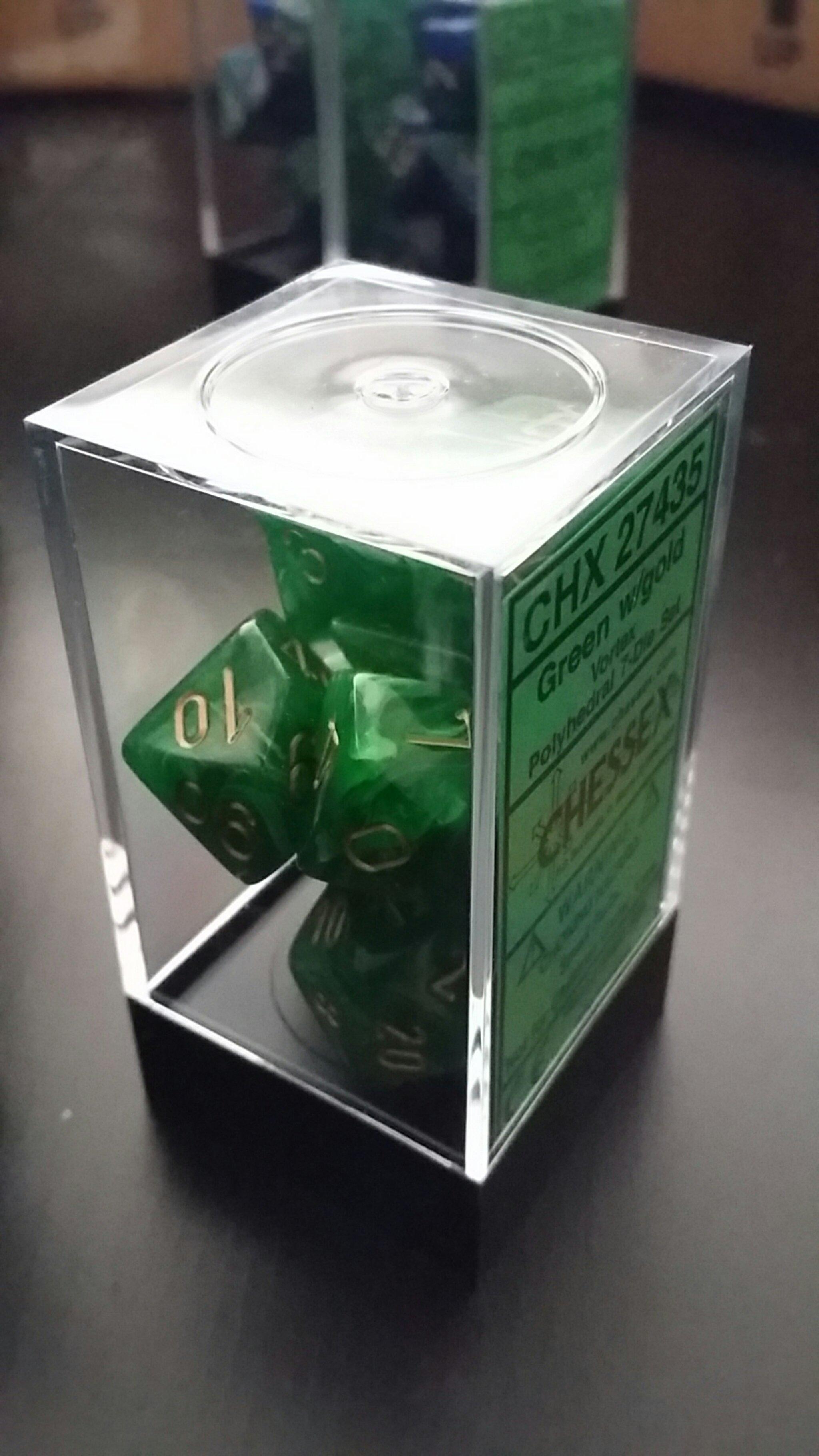 Green w/gold Vortex Polyhedral - 7-Die Set (7) - Chessex CHX27435