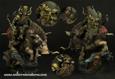 Moscal Dwarf on War Boar - Scibor Miniatures