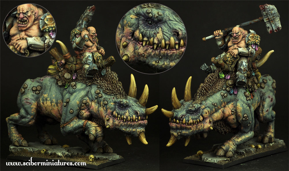 Ogre War Rhino Rider - Scibor Miniatures