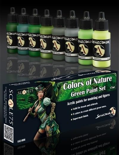 Colors of Nature Green Paintset - Farben der Natur Grün Farbset Paint Set - Scale75