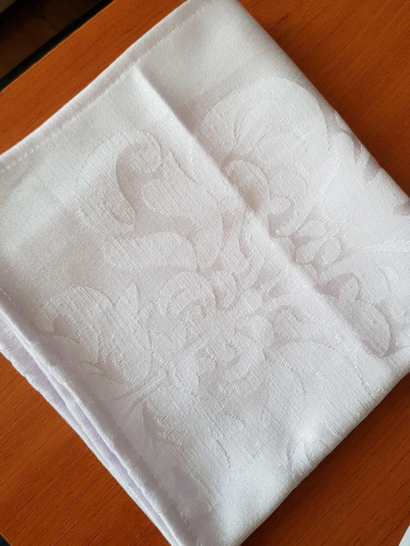 Servet damasc alb, 37x37cm