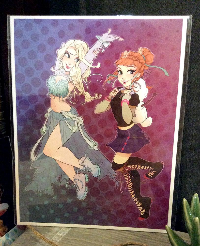 8x11 Print: Raver Anna and Elsa
