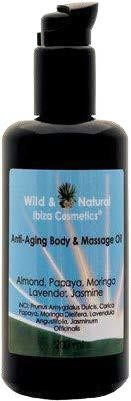 ANTI-AGING BODY & MASSAGE OIL with a wonderful scent of JASMINE PAPAYA + MORINGA +ALMOND+ LAVENDER 100ml Violet Glass
