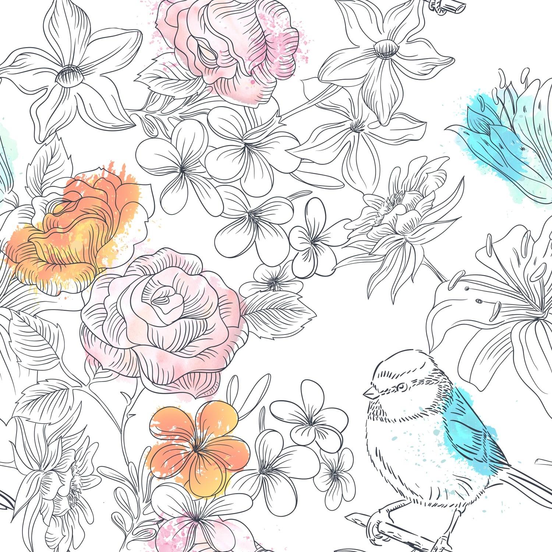 [設計圖樣] 春天 花草 手繪 水彩 Hand Drawn Nature