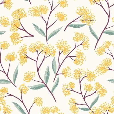 [設計圖樣] 春天 秋天 黃花 插圖 Field Floral Pattern
