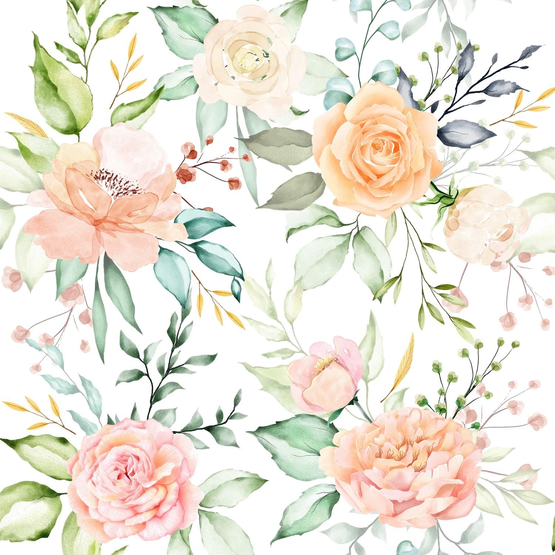 [設計圖樣] 春天 花草 水彩 Watercolor Floral & Leaves