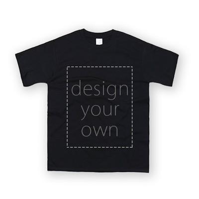 客製 局部 印花 黑色 純棉 中性 T恤 Black Cotton Neutral T-shirt