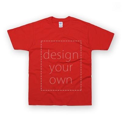 客製 局部 印花 紅色 純棉 中性 T恤 Black Cotton Neutral T-shirt