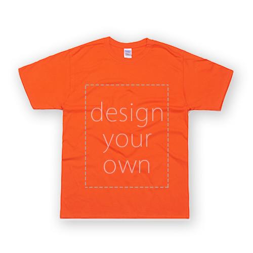 客製 局部 印花 橘色 純棉 中性 T恤 Black Cotton Neutral T-shirt
